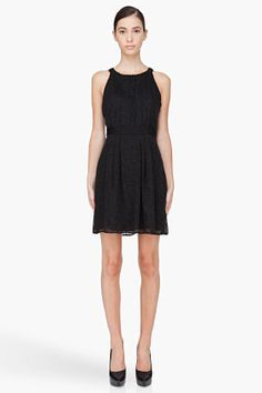 Theory Black Silk Blend Keresa Dress for women   SSENSE