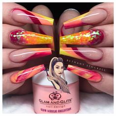 38 rainbow nail art ideas to try during Pride month and beyond - Sexy Nail Art, Sexy Nails, Dope Nails, Bling Nails, Fun Nails, Aycrlic Nails, Nail Nail, Coffin Nails, Red Acrylic Nails