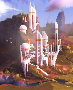 White Towers, Steve Palmerton on ArtStation at https://www.artstation.com/artwork/YdE2X