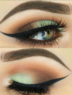 Eye makeup with a green touch
