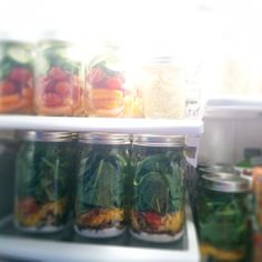 I finally did it! Mason jar oatmeal, veggies, and salads for three people for a week. Thanks for the idea Pinterest :)