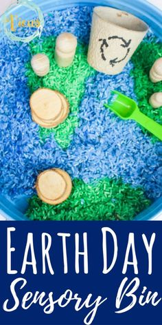 This Earth Day sensory bin uses blue and green colored rice, along with some natural wooden elements to create a fun and engaging bin for play and learning. Earth Day Activities for Kids Sensory Activities Toddlers, Earth Day Activities, Sensory Bins, Sensory Play, Infant Activities, Spring Activities, Earth Day Games, Sensory Bottles, Sensory Table