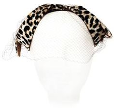 50s Velvet Leopard Print Bow Shaped Hat with Net