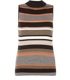 """Channel 70's style in this rust striped vest complete with retro roll neck. - All over striped pattern- High neck design- Ribbed texture - Simple sleeveless design- Slim fit- Model is 5'8"""" and wears UK 10/EU 38/US 6"""