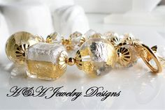 Venetian 24KT Gold and Silver Foil Bead Statement Bracelet by hhjewelrydesigns on Etsy