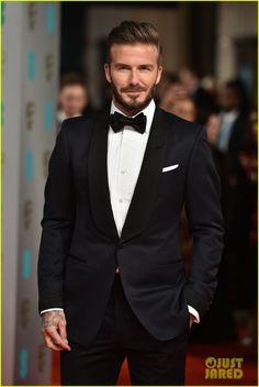 David Beckham in His Tuxedo. BAFTAs 2015