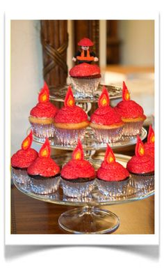 Firefighter / fire cupcakes