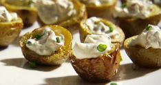 Crispy Baby Potato Bites with Sour Cream and Bacon Recipe : Sandra Lee : Recipes : Food Network Bacon Recipes, Potato Recipes, Appetizer Recipes, Cooking Recipes, Appetizers, What's Cooking, Easy Recipes, Sandra Lee Recipes, Potato Bites
