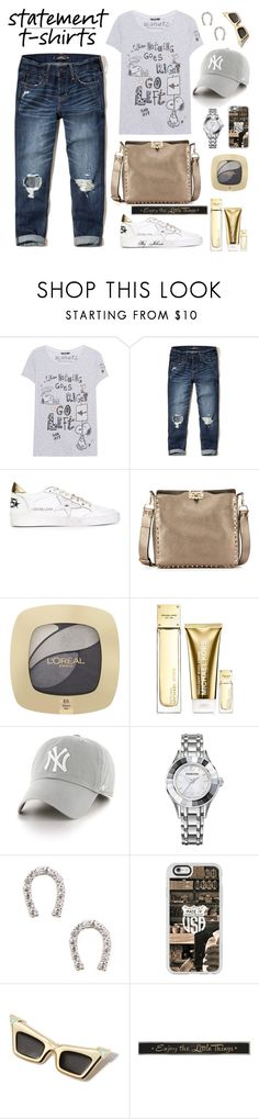 """Say What: Statement T-Shirts"" by jelenalazarevicpo ❤ liked on Polyvore featuring Princess Goes Hollywood, Hollister Co., Golden Goose, Valentino, L'Oréal Paris, Michael Kors, '47 Brand, Swarovski, Sole Society and Casetify"