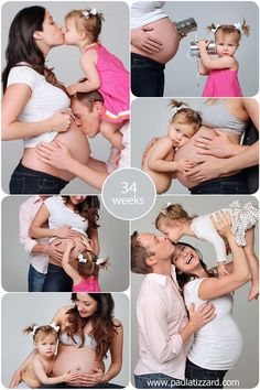 Family maternity photos - love the one with the tin cans and string!