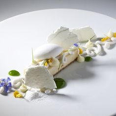 Yuzu bar, coconut Whipped Cremeux , basil syrup, citrus meringue, coconut sorbet by Pastry Chef Antonio Bachour Fancy Desserts, Gourmet Desserts, Plated Desserts, Gourmet Recipes, Delicious Desserts, Healthy Desserts, Gourmet Foods, Food Design, Coconut Sorbet