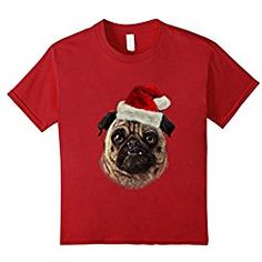 cbcc1f7f unisex-child T-Shirt, Grumbling Pug in Santa Hat, Christmas Dog 10 Cranberry