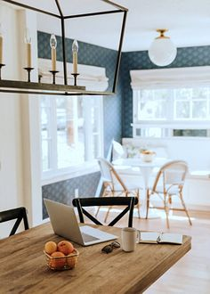 White Beach Style Kitchen with Blue Wallpaper - Town & Country Living
