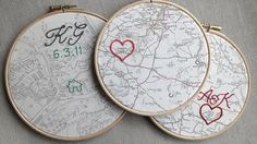 Cotton anniversary gift: Vintage map framed in 7 wooden hoop. Symbol embroidered round chosen location with anniversary date. via Etsy. Two year anniversary gift. Second anniversary gift. Cotton Wedding Anniversary Gift, Second Year Anniversary Gift, Dating Anniversary Gifts, Anniversary Surprise, Anniversary Dates, Cotton Gifts, Framed Maps, Wooden Hoop, Etsy