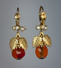 Rare Georgian Era Earrings circa 1780 A pair of Russian gilded silver, faceted amber, paste and fresh water pearl pendant earrings made in the last quarter of the 18th century. Length 38 mm (1 1/2 in.)