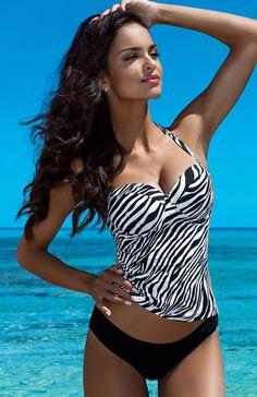 Lorin L5018/6 kostium kąpielowy Piękne tankini, góra w czarno-białą zeberkę, usztywniane piankowe miseczki