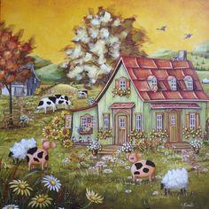 "Christine Genest ~ ""Une attirance envers l`autre"" Barn Pictures, Sheep Art, Cottage Art, Art Story, Dream Art, Naive Art, Canadian Artists, Beautiful Paintings, Oeuvre D'art"