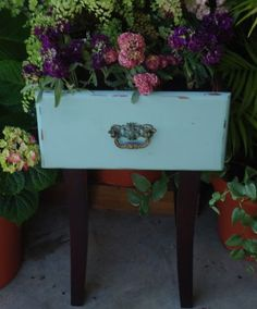 old drawer used as a planter