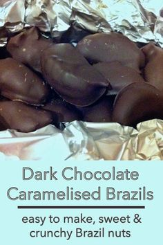 Easier to make than you might imagine, these sweet and crunchy Brazil nuts covered in dark chocolate make an excellent gift at any time of year, but particularly Christmas. Chocolate Week, Homemade Chocolate, Vegan Chocolate, Chocolate Recipes, Chocolate Candies, Nut Recipes, Sweet Recipes, Snack Recipes, Dessert Recipes
