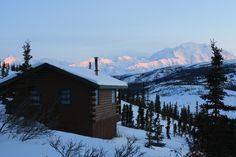 In the winter, the lodges are closed and the cabins slumber in the presence of Denali.
