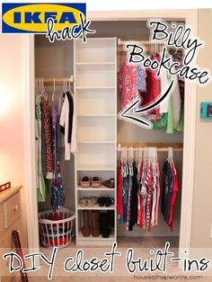 How to build your own closet built-ins using a Billy bookcase (IKEA hack) – Ho. - Home Decor -DIY - IKEA- Before After Closet Redo, Closet Hacks, Closet Remodel, Closet Bedroom, Bedroom Kids, Diy Bedroom, Diy Closet Ideas, Trendy Bedroom, Ikea Closet Hack