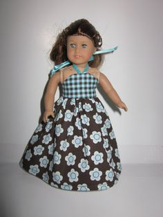 Summer long sun dress for mini American Girl Dolls blue brown or pink brown plaid flowers 6.5 American Girl Dolls summer clothes dresses by DreamyDoll on Etsy