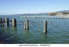 view of trasimeno lake in umbria region - stock photo