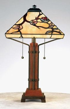 Grove Park Table Lamp  This Arts and Crafts table lamp by Quoizel features a shade with flowering tree pattern, handcrafted from genuine art...