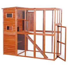 Cats love spending time in the fresh air watching bugs, birds and other animals. There wooden outdoor cat sanctuary allows your cat to enjoy the outdoors while remaining safely enclosed. This item can be used as a free-standing structure or attached to your house or garage by removing the back panels. Six large landing platforms provide your feline with plenty of options to perch for a view, or simply relax the afternoon away. Crafted with Eco-friendly fir, durable composite shingles and a…