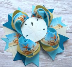 Beach Hair Bow Summer Boutique Hair Bow by JustinesBoutiqueBows