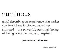 Waiting for the moments that make me feel numinous.