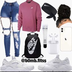 Nike Outfits, Swag Outfits For Girls, Cute Swag Outfits, Teenage Girl Outfits, Teen Fashion Outfits, Retro Outfits, Simple Outfits, Jugend Mode Outfits, Streetwear Mode