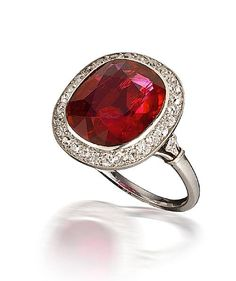 An art deco ruby and diamond ring, Mauboussin, 1924