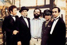 James Caan, Marlon Brando, Francis F. Coppola, Al Pacino and John Cazale on the Godfather set, 1972.