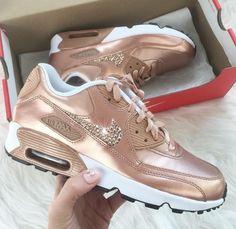 shoes rose gold diamonds air maxes nike nike air air max tan nike sneakers  nude bling 83d3e800ffb