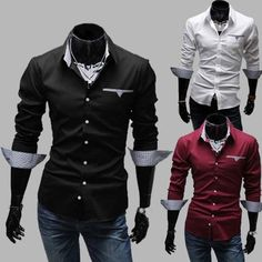 Free Shipping 2016 Brand New style Design Mens Shirts high quality Casual Slim Fit Stylish Dress Shirts 3 Colors 5907