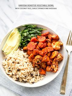 Harissa Roasted Vegetables with Coconut Rice, Garlic Spinach and Avocado... What a great vegetarian meal!