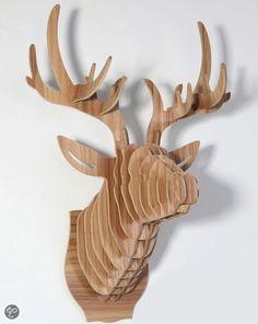 Hertenkop Naturel Hout Large - Afmeting 64x50x36cm - Bouwpakket