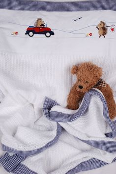 Traveling Hedgehog cotton cellular blanket with navy gingham trim - absolute must-have item and ideal baby gift from www.tomandbella.co.za Must Have Items, Gingham, Baby Gifts, Hedgehog, Traveling, Teddy Bear, Navy, Toys