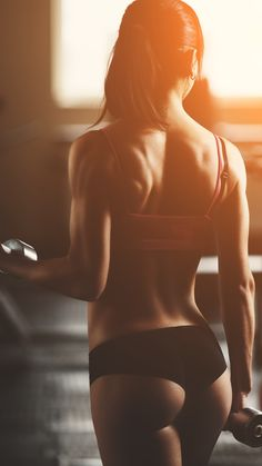 Sexy Back Gym Girl Lifting Weights iPhone 6 Plus HD Wallpaper