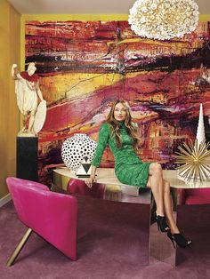 DREAM Lana Gomez painting in interior designer Kelly Wearstler's office. Kelly Wearstler Wallpaper, Living Colors, Famous Interior Designers, The New Yorker, Textiles, Interior Design Living Room, Kitchen Interior, Decoration, Architecture