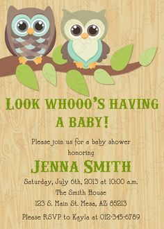 Gender Neutral Baby Shower Invitation  Owl Theme Wood by Sassygfx, $13.00