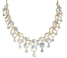 Edwardian Raindrops: Festoon Moonstone Necklace - The Three Graces