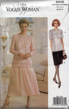 Vogue 8635 Misses Easy Elegant Top and Skirt Pattern Wedding Formal Mother of the Bride Womens Sewing Size 8 10 12 Bust 31 32 34 UNCUT