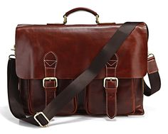 "Handmade Superior Leather Briefcase / Messenger Bag -- with a 14"" 15"" Laptop / 13"" 15"" MacBook Sleeve"
