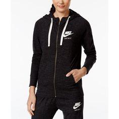 Nike Gym Vintage Full-Zip Hoodie ($60) ❤ liked on Polyvore featuring tops, hoodies, black, hooded pullover, full zip hoodie, full zip hoodies, vintage hoodie and vintage hoodies
