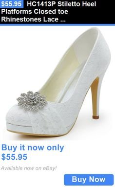 Wedding Shoes And Bridal Shoes  Hc1413p Stiletto Heel Platforms Closed Toe  Rhinestones Lace Bridal Wedding Shoes BUY IT NOW ONLY   55.95 5973fc7c01