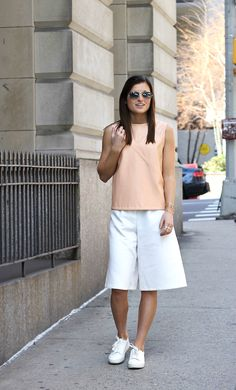 First Blush | #Topshop white culottes, #Zara blush faux leather shell top, #HM…