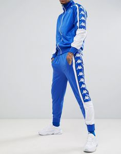 Kappa joggers with large logo taping in blue 3e9b1d9da8770