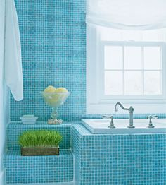 Bathroom Makeover Tour: Spa-Like Bathroom with Seaside Style Bathroom Makeover, House Interior, Blue Bathroom, Seaside Style, Spa Like Bathroom, Blue Bathroom Walls, Home, Bathroom Design, Modern Bathroom Decor